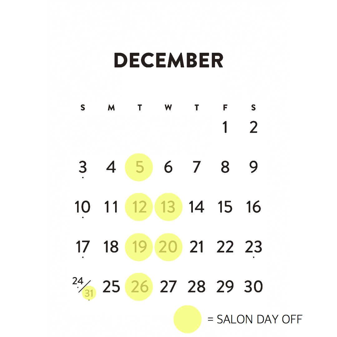 aW HAIR三軒茶屋の2017年12月の休日カレンダーの画像